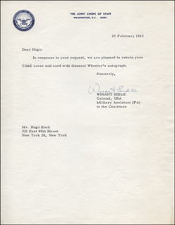 MAJOR GENERAL WINANT SIDLE - TYPED LETTER SIGNED 02/25/1965