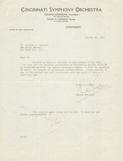 SIR EUGENE GOOSSENS - TYPED LETTER TWICE SIGNED 10/29/1935