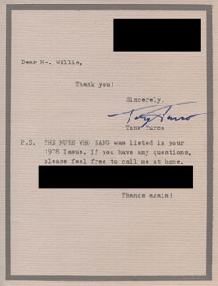 TONY TURCO - TYPED LETTER SIGNED