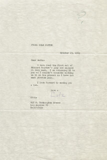 COLE PORTER - TYPED LETTER SIGNED 10/13/1962