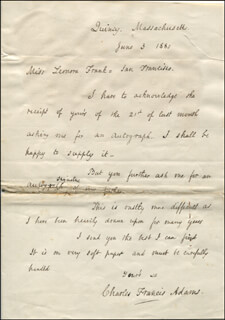 CHARLES FRANCIS ADAMS SR. - AUTOGRAPH LETTER SIGNED 06/03/1880