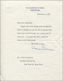 Autographs: DEAN ACHESON - TYPED LETTER SIGNED 02/06/1950