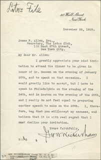 Autographs: GEORGE W. WICKERSHAM - TYPED LETTER SIGNED 12/28/1928