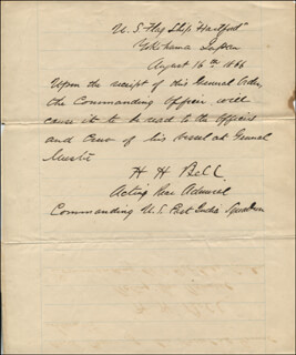 Autographs: REAR ADMIRAL HENRY HAYWOOD BELL - AUTOGRAPH LETTER SIGNED 08/16/1866