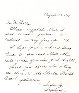 STEPHANIE MUSNICK - AUTOGRAPH LETTER SIGNED 08/23/1978
