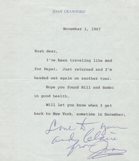 JOAN CRAWFORD - TYPED LETTER SIGNED 11/01/1967