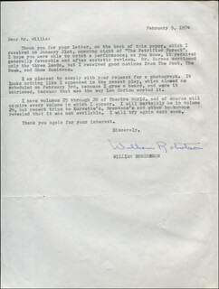 WILLIAM ROBERTSON - TYPED LETTER SIGNED 02/09/1974