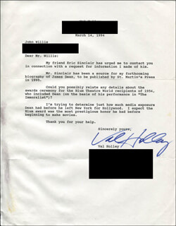 VAL HOLLEY - TYPED LETTER SIGNED 03/14/1994