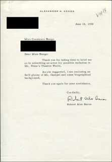 ROBERT ALEX BARON - TYPED LETTER SIGNED 06/18/1958
