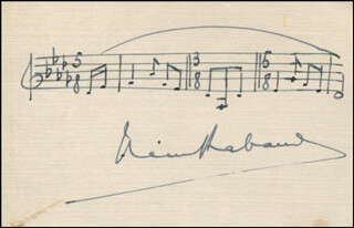 HENRI RABAUD - AUTOGRAPH MUSICAL QUOTATION SIGNED