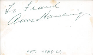 ANN HARDING - INSCRIBED SIGNATURE