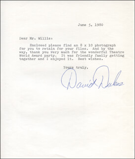 DAVID DUKES - TYPED LETTER SIGNED 06/05/1980