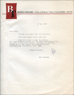 ROBERT BOB DOWNING - TYPED LETTER SIGNED 12/17/1969