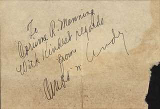 THE AMOS 'N' ANDY RADIO CAST - INSCRIBED SIGNATURE CO-SIGNED BY: CHARLES ANDY CORRELL, FREEMAN AMOS GOSDEN