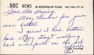 CHET HUNTLEY - AUTOGRAPH LETTER SIGNED CIRCA 1960