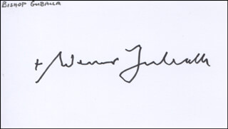 Autographs: BISHOP WERNER GUBALLA - BUSINESS CARD SIGNED