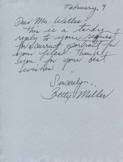 BETTY MILLER - AUTOGRAPH LETTER SIGNED 02/09