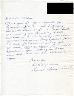 Autographs: LOUISE AUBLE - AUTOGRAPH LETTER SIGNED 10/10/1944