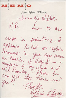SYLVIA O'BRIEN - AUTOGRAPH LETTER SIGNED