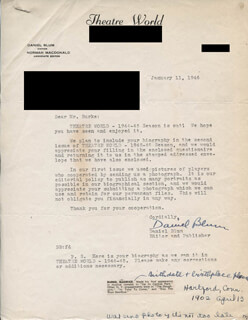 DANIEL BLUM - TYPED LETTER SIGNED 01/11/1946 CO-SIGNED BY: MAURICE BURKE
