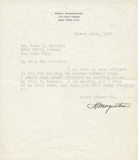 HENRY MORGENTHAU SR. - TYPED LETTER SIGNED 03/18/1930