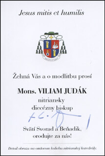 Autographs: BISHOP VILIAM JUDAK - CALLING CARD SIGNED