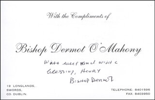Autographs: BISHOP DERMOT O'MAHONY - AUTOGRAPH NOTE SIGNED