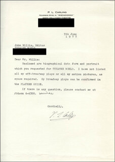 P.L. CARLING - TYPED LETTER SIGNED 06/09/1977