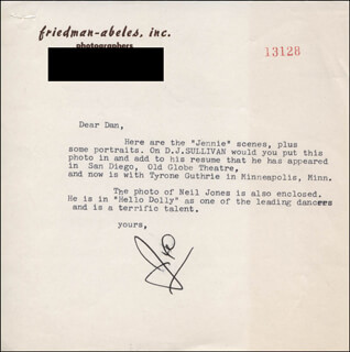 JOE ABELES - TYPED LETTER SIGNED