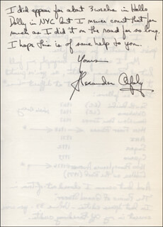 ALEXANDER ORFALY - AUTOGRAPH LETTER SIGNED 10/31/1978