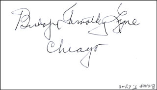 Autographs: BISHOP TIMOTHY J. LYNE - SIGNATURE(S)