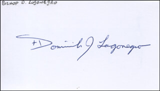 Autographs: BISHOP DOMINICK J. LAGONEGRO - SIGNATURE(S)