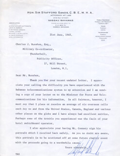 SIR STAFFORD SANDS - TYPED LETTER SIGNED 06/21/1965