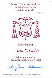 Autographs: BISHOP JAN SZKODON - CALLING CARD SIGNED