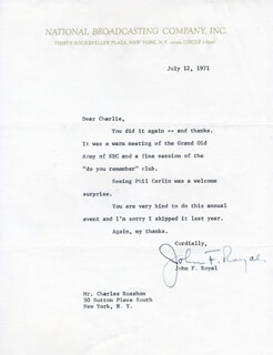 JOHN F. ROYAL - TYPED LETTER SIGNED 07/12/1971