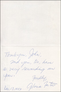 GLORIA FOSTER - AUTOGRAPH NOTE SIGNED 12/13/1983