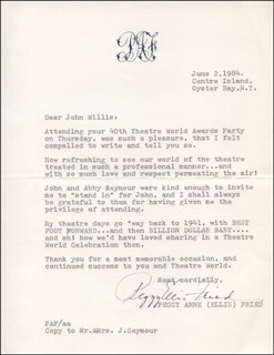 PEGGY ANNE ELLIS - TYPED LETTER SIGNED 06/02/1984