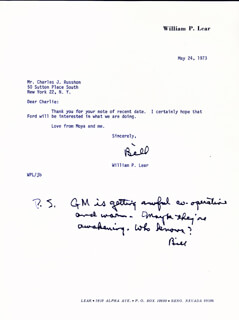 WILLIAM P. LEAR - TYPED LETTER SIGNED 05/24/1973