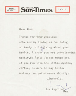 IRV KUPCINET - TYPED LETTER SIGNED