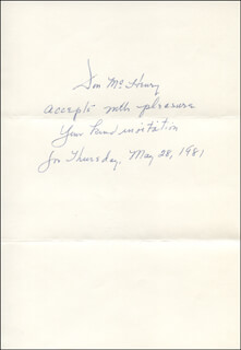 DON McHENRY - AUTOGRAPH NOTE SIGNED CIRCA 1981