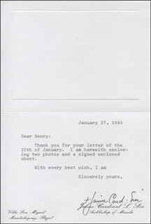 Autographs: CARDINAL JAIME SIN - TYPED LETTER SIGNED 01/27/1985