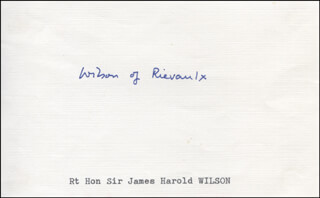 PRIME MINISTER HAROLD WILSON (GREAT BRITAIN) - AUTOGRAPH