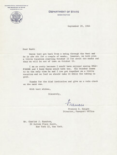 FRANCES G. KNIGHT - TYPED LETTER SIGNED 09/29/1964
