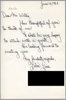 LUBA LISA - AUTOGRAPH LETTER SIGNED 06/13/1966