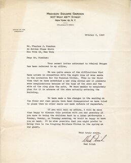 NED IRISH - TYPED LETTER SIGNED 10/03/1963  - HFSID 31675