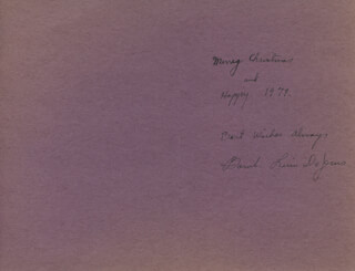 BAMBI LINN - AUTOGRAPH CHRISTMAS / HOLIDAY CARD SIGNED CIRCA 1978