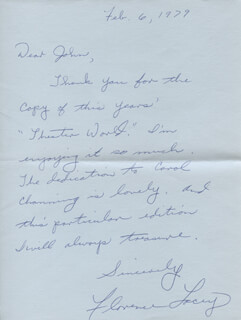 FLORENCE LACEY - AUTOGRAPH LETTER SIGNED 02/06/1979