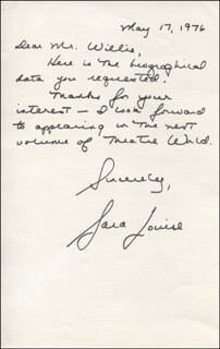 SARA LOUISE - AUTOGRAPH LETTER SIGNED 05/17/1976