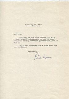 PAUL LIPSON - TYPED LETTER SIGNED 02/13/1970