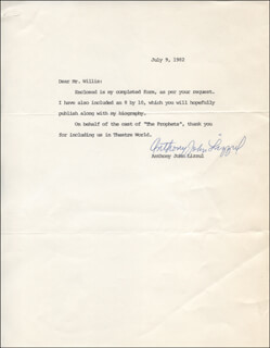 ANTHONY JOHN LIZZUL - TYPED LETTER SIGNED 07/09/1982